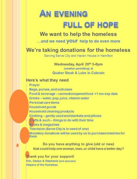 Evening Full of Hope for Homeless